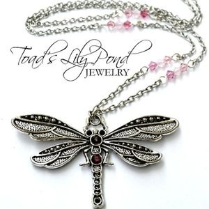 Long pink dragonfly necklace w/ Swarovski crystal